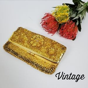 VINTAGE Made in Hong Kong Gold Beaded Clutch Purse